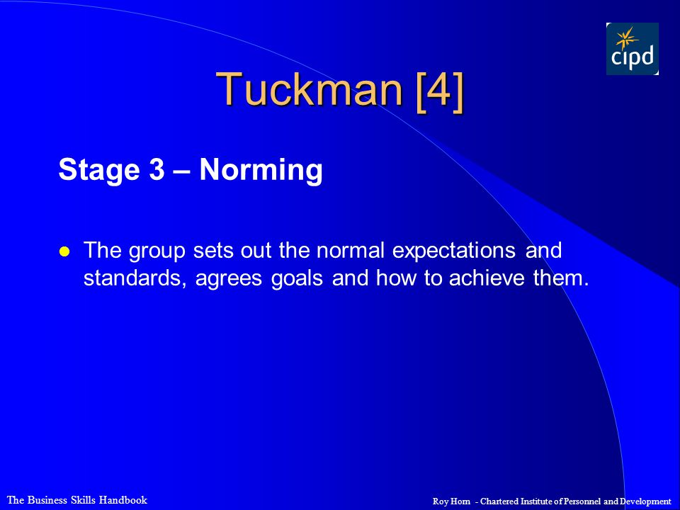 Tuckman [4] Stage 3 – Norming